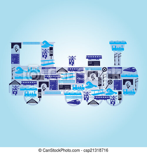 eps10, ícones, forma, trem, estrada ferro, locomotiva - csp21318716