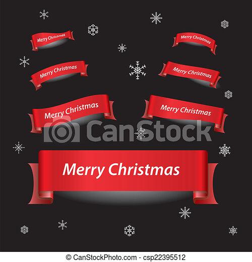 eps10, červeň, veselý, standarta, vánoce, lem - csp22395512