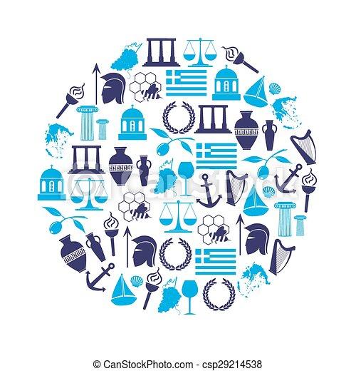eps10, アイコン, 国, シンボル, 主題, ギリシャ, 円 - csp29214538