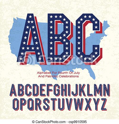 Alphabet für 4. Juli und patriotische Feiern. Vector, EPS10 - csp9910595