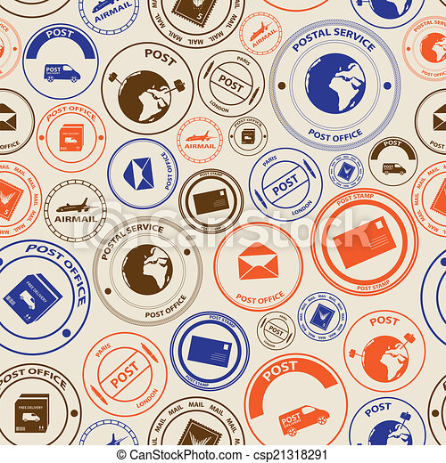 eps10, barva, model, seamless, poštovní známky, pošta, místo - csp21318291