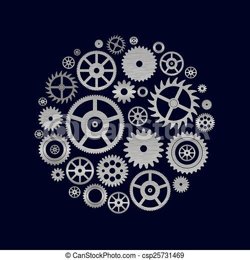 eps10, bdít, končiny, rozmanitý, kruh, cogwheels, hnutí - csp25731469