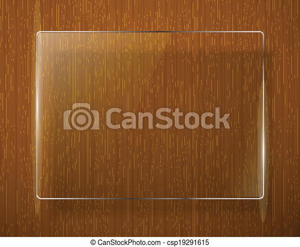 Textura de madera con marco de vidrio. Vector Eps10 - csp19291615