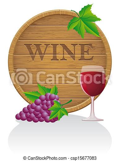 Barril de vino de madera y vector de vidrio ilustración EPS10 - csp15677083