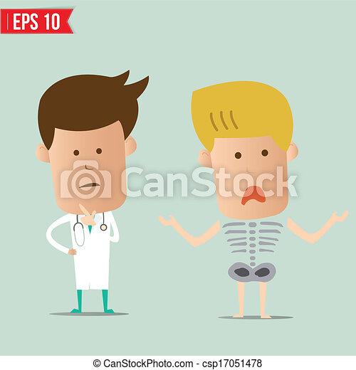 eps10, doutor, -, analisar, ilustração, vetorial, relatório, caricatura, raio x - csp17051478