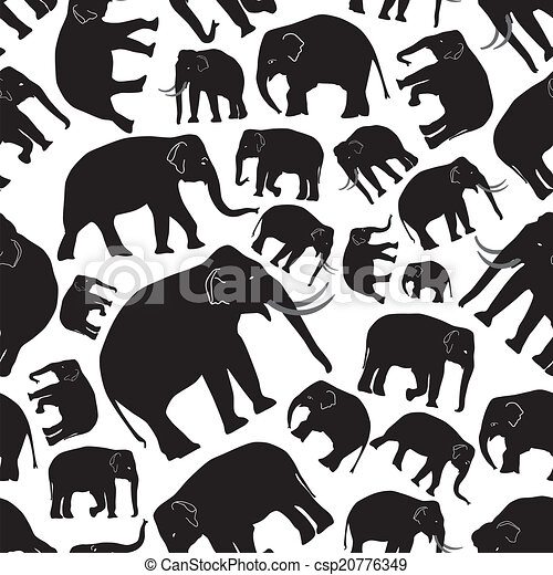 Elefantes vector negro sin costura, patrón Eps10 - csp20776349
