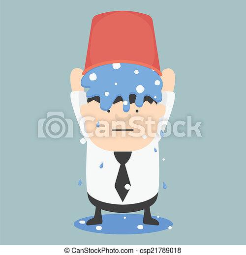 El cubo de hielo desafía los negocios grasa EPS.10 - csp21789018