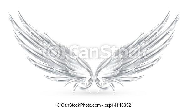 Flügel weiß, eps10 - csp14146352