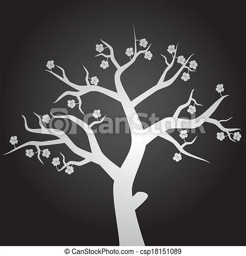 eps10, flores, árvore - csp18151089