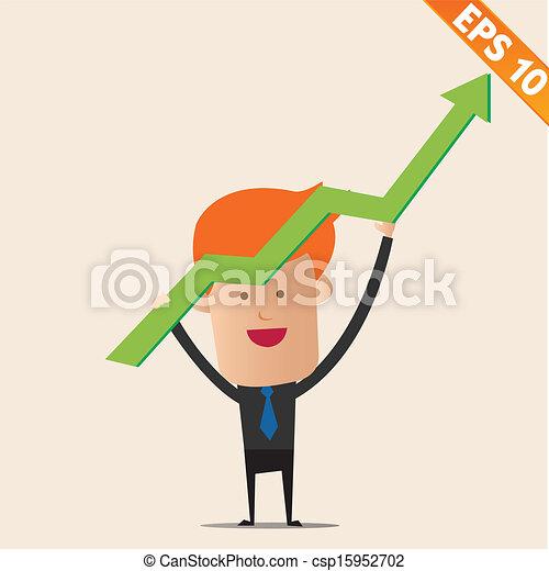 eps10, grafiek, -, illustratie, vector, positief, zakenman, spotprent - csp15952702