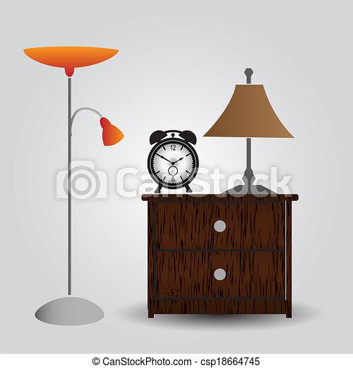 eps10, hodiny, úzkost, u lože, ložnice, deska - csp18664745