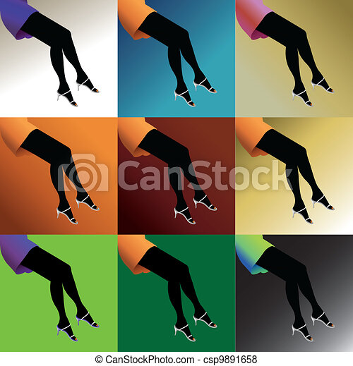 eps10 hot woman legs with shoes - illustration - csp9891658