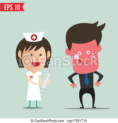 eps10, -, ilustração, vetorial, siringa, usando, enfermeira, caricatura - csp17051715
