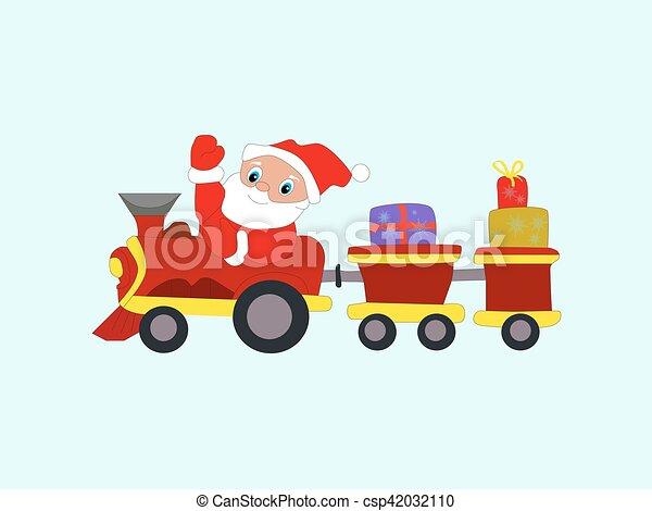 Año Nuevo de invierno Santa Claus de Navidad en tren con regalos Eps10 - csp42032110