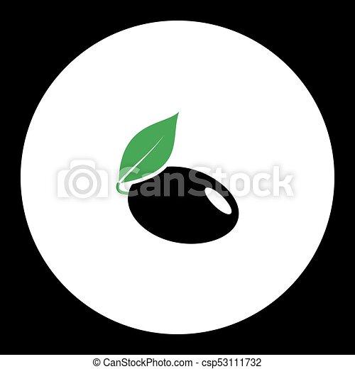 eps10, jednoduchý, švestka, nezkušený, ovoce, čerň, list, ikona - csp53111732