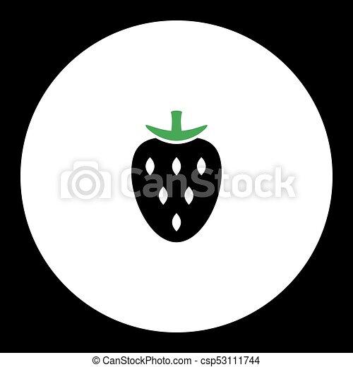 eps10, jednoduchý, jahoda, ovoce, nezkušený, čerň, ikona - csp53111744