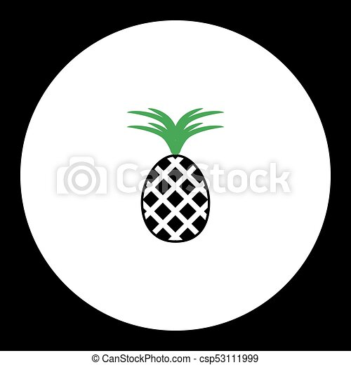eps10, jednoduchý, ovoce, čerň, ananas, nezkušený, ikona - csp53111999