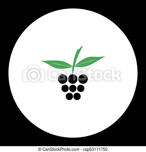 eps10, jednoduchý, ovoce, čerň, nezkušený, malina, ikona - csp53111750