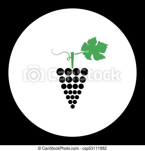 eps10, jednoduchý, ovoce, temný zrnko vína, nezkušený, ikona - csp53111882