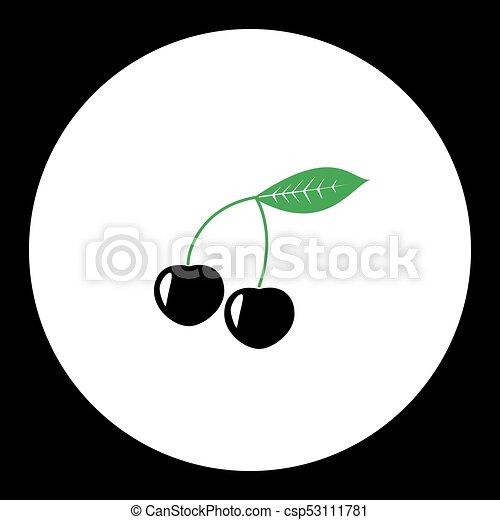 eps10, jednoduchý, ovoce, višně, nezkušený, čerň, ikona - csp53111781