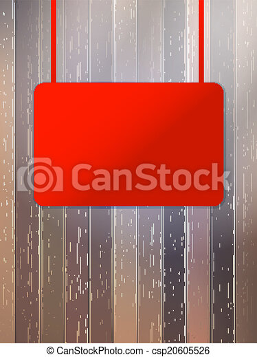eps10, legno, cartello, wall., vuoto, invecchiato, rosso - csp20605526