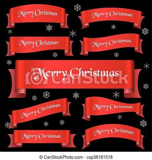 eps10, lem, veselý, oblý, heslo, standarta, vánoce, červeň - csp38181518