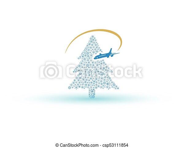 eps10, letadlo, strom, sněhová vločka, vánoce - csp53111854