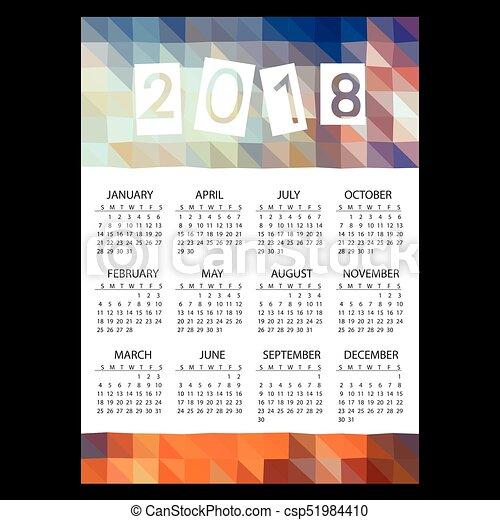 eps10, mnohoúhelník, povolání, jednoduchý, model, val, námět, 2018, kalendář, barva, bučet - csp51984410