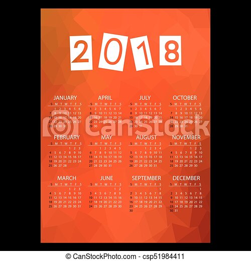 eps10, mnohoúhelník, povolání, jednoduchý, model, val, námět, 2018, kalendář, červeň, bučet - csp51984411