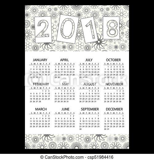 eps10, nárys, povolání, jednoduchý, model, val, 2018, květinový, kalendář - csp51984416