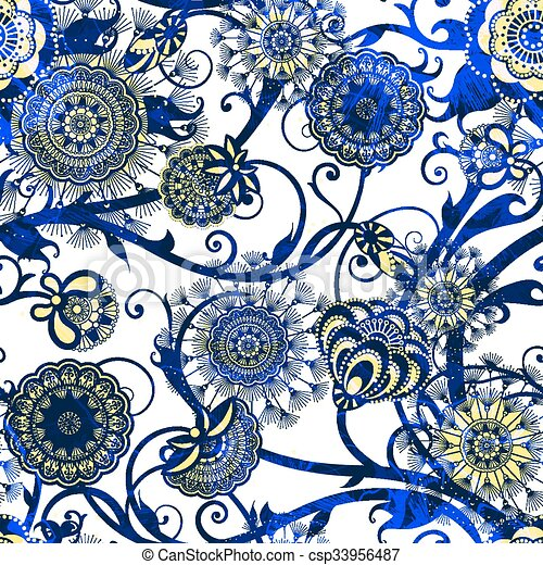 eps10, patrón, resumen, seamless, flowers., vector - csp33956487