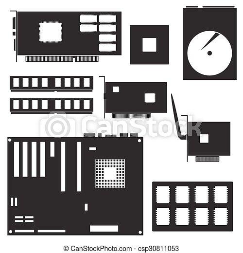 Eps10, schreibtisch, symbole, edv, schwarz, komponenten, intern.