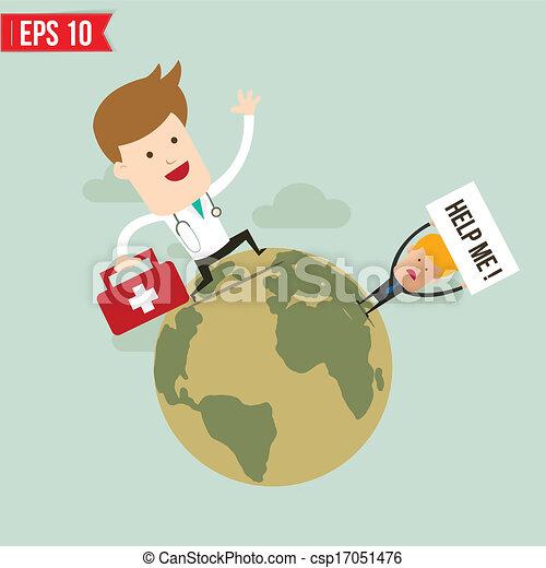 El médico lleva una maleta para el servicio de emergencia, ilustración del vector EPS10 - csp17051476