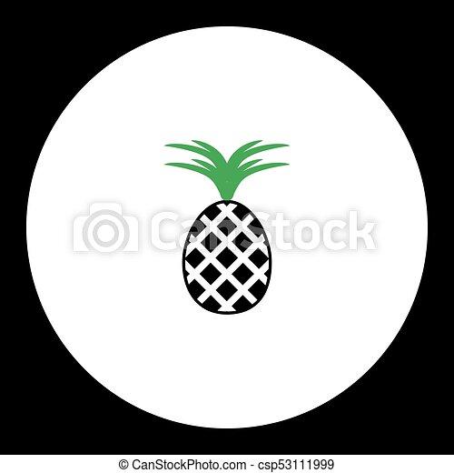 Eps10 Simple Fruit Noir Ananas Vert Icône