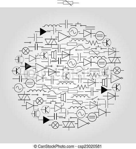 eps10, symbol, inženýrství, elektrický, schématický, kruh - csp23020581