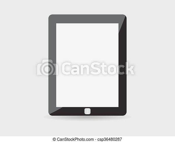 eps10, tablette, réaliste, écran, isolé, pc, vecteur, arrière-plan., vide, blanc, informatique - csp36480287