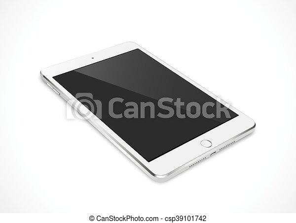 eps10, tablette, réaliste, écran, isolé, illustration, pc, vecteur, noir, arrière-plan., blanc, informatique - csp39101742