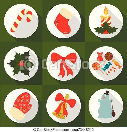 eps10., vector, ilustración, navidad, año nuevo, plano, shadow., tarjetas., conjunto, iconos, largo, saludo, design. - csp73448212