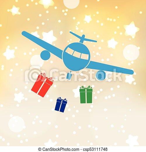 eps10, zlatý hřeb, dar, grafické pozadí, letadlo, vánoce - csp53111748
