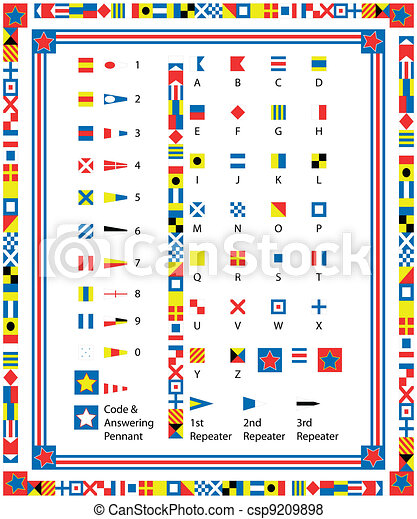 EPS8 Vector Nautical Flags and Bord - csp9209898