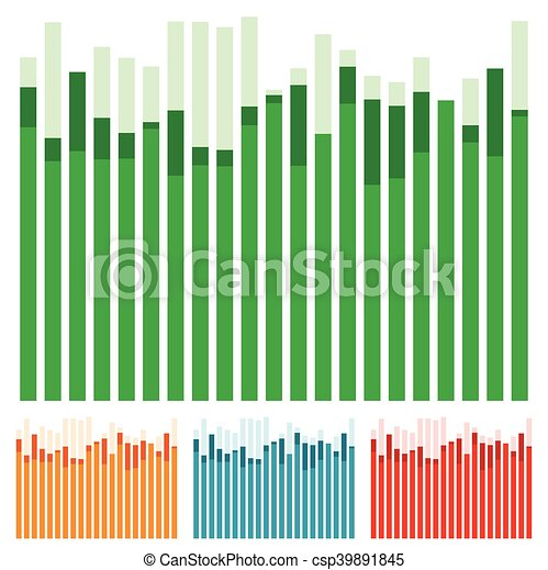 Eq, equalizer with overlapping bars - Bar chart, bar graph w/ random heights - csp39891845