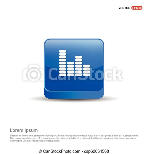 Equalizer icon - 3d Blue Button - csp62064568