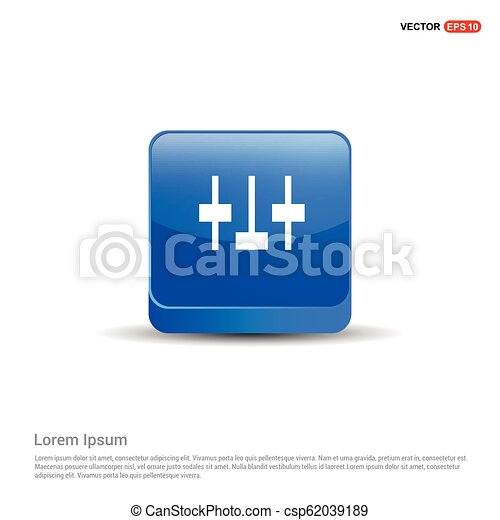 Equalizer icon - 3d Blue Button - csp62039189