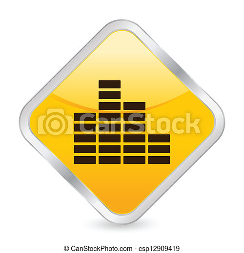 equalizer yellow square icon - csp12909419