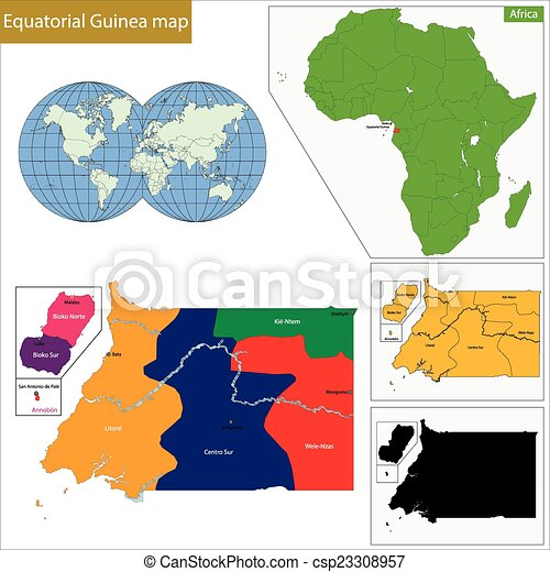 Equatorial guinea map with high detail and accuracy and it is ...