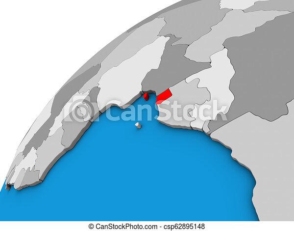 Equatorial Guinea on 3D globe - csp62895148