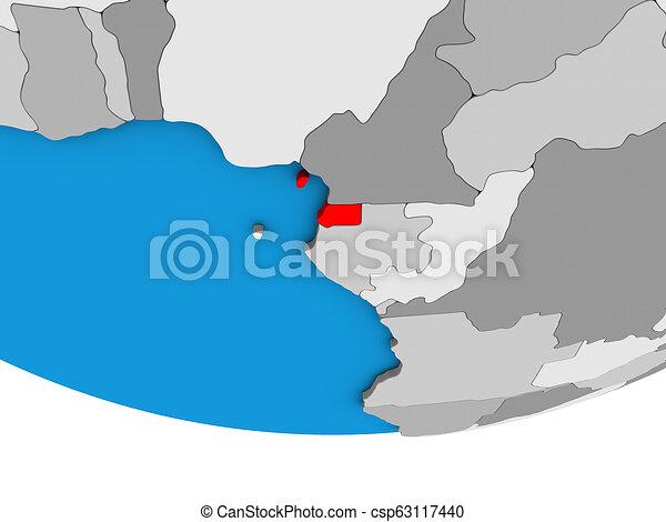 Equatorial Guinea on 3D globe - csp63117440