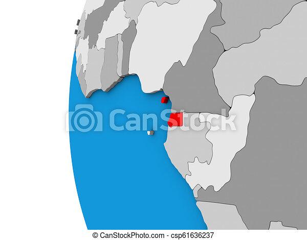 Equatorial Guinea on 3D globe - csp61636237