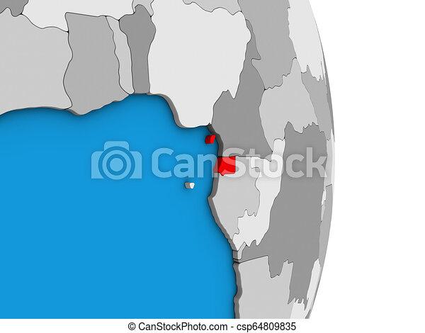 Equatorial Guinea on 3D globe - csp64809835