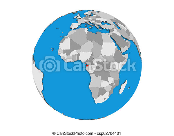 Equatorial Guinea on 3D globe isolated - csp62784401